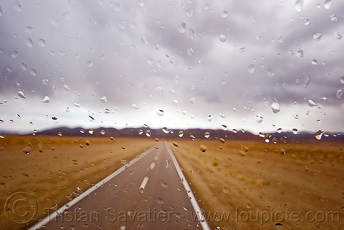 stormy weather on desert road, altiplano, argentina, cloud, cloudy, droplets, noroeste argentino, pampa, rain drops, rainy, storm, stormy, straight road, vanishing point, weather, windshield
