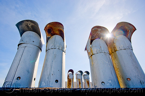 stove pipes - chimneys, backlight, blue sky, chimneys, defenestration building, stove pipes, sun