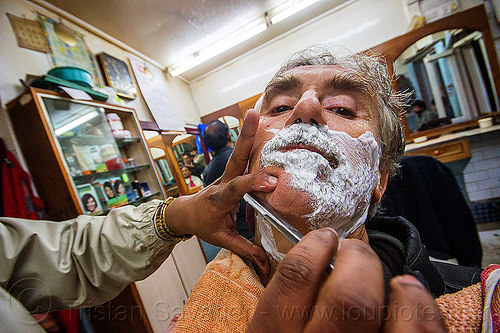 straight razor shave (india), barber, darjeeling, india, men, neck, selfie, selportrait, shave, shaving, shop, straight razor