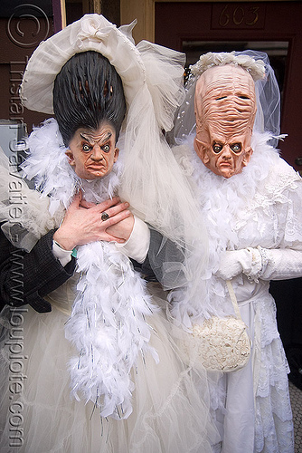strange-looking brides - brides of march (san francisco), brides of march, festival, masks, wedding dress, white