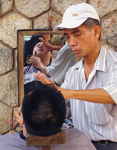 street barber - vietnam, hanoi, men, mirror, shaver, shaving, street barber, working
