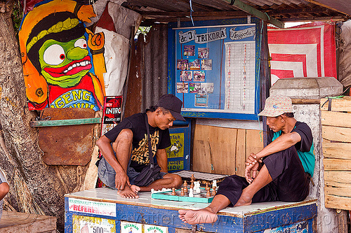street chess players, chess board, chess game, indonesia, jogja, men, player, playing, sitting, street seller, yogyakarta