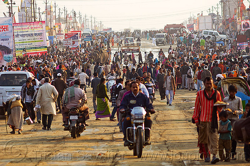 street crowd and traffic - kumbh mela 2013, crowd, kumbha mela, maha kumbh mela, men, motorbikes, motorcycles, street, traffic