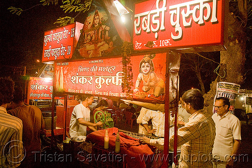 street food stand at night - gwalior (india), market, stall, street vendor