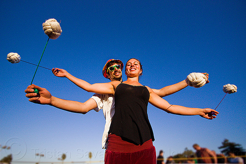 partner poi, ball, blue sky, cary, couple, dolores park, man, partner poi, ropes, savanna, spinning, woman