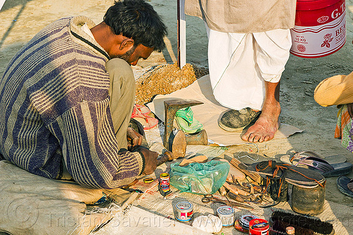 street shoemaker repairing a shoe (india), fixing, foot, kumbha mela, maha kumbh mela, man, repairing, shoe, shoemaker, stall, street market, street vendor, working