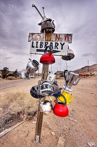 street sign in the wild west, 1st, darwin, death valley, desert, dirt road, ghost town, library, nw, post, teakettles, unpaved