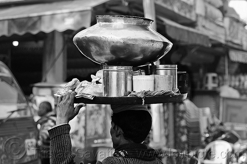 street vendor holding tray on his head - large copper vessel., carrying on the head, copper vessel, delhi, man, metal pot, paharganj, street vendor, tray