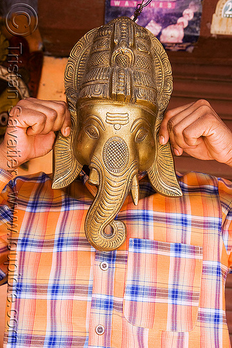 street vendor impersonating ganesha - pushkar (india), elephant, ganesh, ganesha, god, head, pushkar