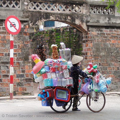 street vendor on bicycle - vietnam, bicycle, bike, hanoi, plastic, street seller, street vendor, vietnam