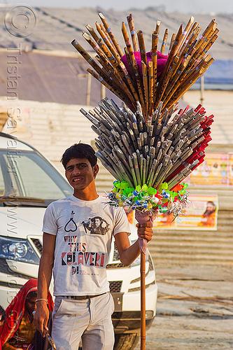 street vendor selling flutes (india), flutes, kumbha mela, maha kumbh mela, man, street market, street vendor