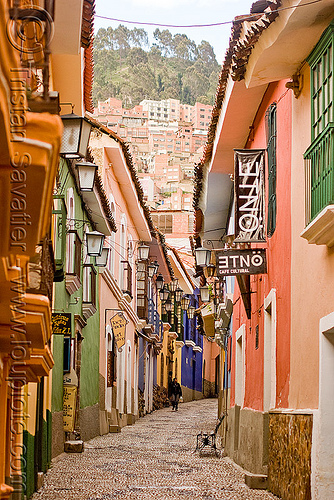 street with colonial houses - la paz (bolivia), clobberstone, colonial houses, la paz, street