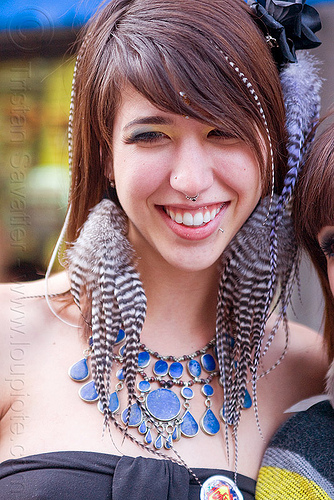 striped feather earrings - ariana francesca, ariana francesca, bindi, blue stone necklace, feather earrings, woman