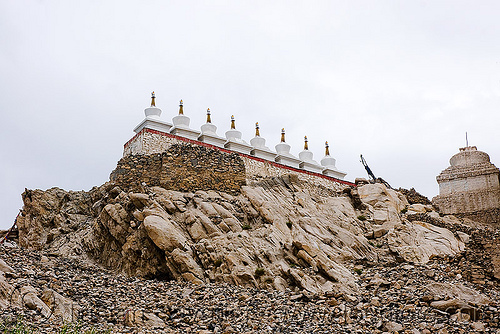 stupas - leh valley - ladakh (india), chortens, row
