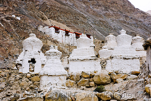 stupas - nubra valley - ladakh (india), chortens, diskit, gompa, ladakh, nubra valley, stupas, tibetan monastery