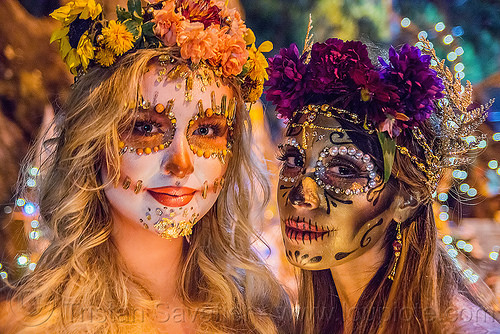 sugar skull makeup - dia de los muertos, andrea, bindis, day of the dead, dia de los muertos, face painting, facepaint, flower headdress, flowers, halloween, jewelry, mariana, night, sugar skull makeup, women
