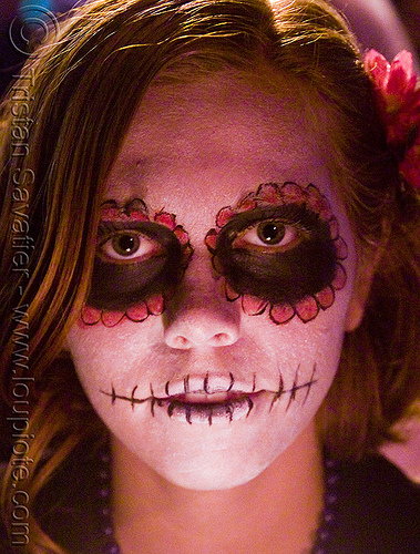 sugar skull makeup - dia de los muertos - halloween (san francisco) - janelle, day of the dead, dia de los muertos, face painting, facepaint, halloween, janelle, night, sugar skull makeup, woman