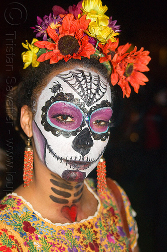 sugar skull makeup - orange and yellow flowers headdress, day of the dead, dia de los muertos, earrings, face painting, facepaint, flower headdress, halloween, night, orange flowers, people, sugar skull makeup, woman, yellow flowers
