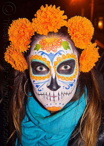 sugar skull makeup - orange marigold flowers headdress, blue scarf, day of the dead, dia de los muertos, face painting, facepaint, halloween, night, orange color, people, tagetes, woman
