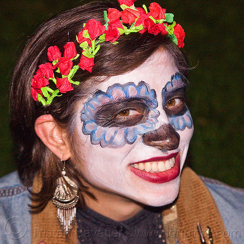 sugar skull makeup - paper flowers headband, day of the dead, dia de los muertos, earrings, face painting, facepaint, halloween, linda, night, paper flowers headband, paper flowers headdress, sugar skull makeup, woman