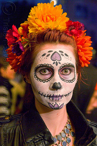 sugar skull makeup - red and orange flower headdress, day of the dead, dia de los muertos, face painting, facepaint, halloween, metal necklace, night, orange flower headdress, red flowers headdress, sugar skull makeup, woman
