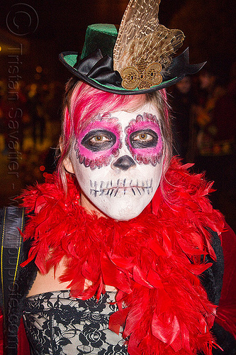 sugar skull makeup - red feather boa, cocktail hat, day of the dead, dia de los muertos, face painting, facepaint, feather hat, feathers, green hat, halloween, night, read feather boa, sugar skull makeup, woman