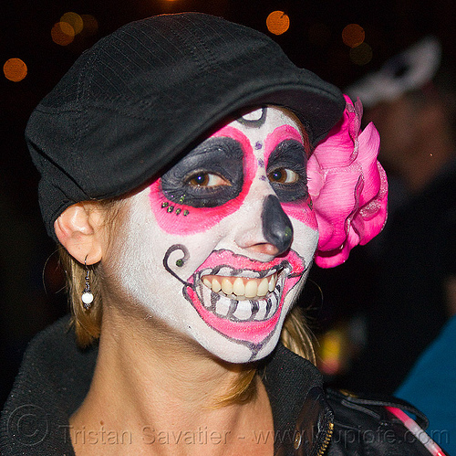 sugar skull makeup with pink flower, day of the dead, dia de los muertos, face painting, facepaint, halloween, night, pink flower, sugar skull makeup, woman