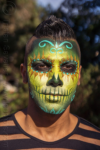 suliman nawid - green sugar skull makeup, day of the dead, dia de los muertos, face painting, facepaint, halloween, man, sugar skull makeup, suliman nawid