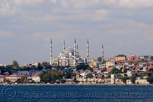 sultanahmet skyline with the blue mosque (istanbul), blue mosque, islam, istanbul, minarets, sultanahmet