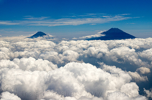sundoro and sumbing volcanoes in central java (indonesia), aerial photo, clouds, cone, indonesia, mountain, stratovolcanoes, stratovolcanos, sumbing, sundoro, volcanoes
