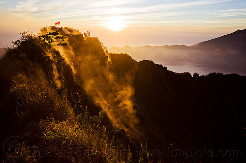 sunrise on gunung batur volcano, backlight, bali, danau batur, flag, fumaroles, lake, lake batur, mount batur, mountains, people, shelter, silhouettes, smoke, smoking, steam, summit, tea house