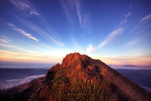 sunrise on mount batur, bali, batur volcano, gunung batur, mount batur, silhouettes, summit, sunrise