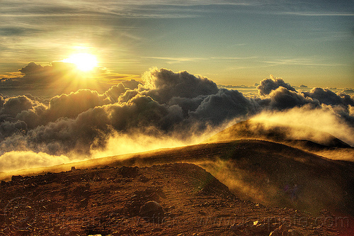 sunrise on mount semeru, clouds, gunung semeru, hiking, indonesia, mount semeru, mountains, semeru volcano, smoke, summit, sun, trekking