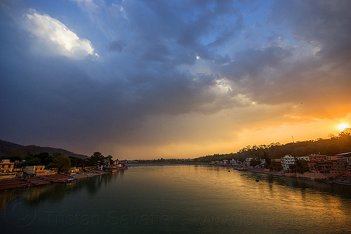 sunset sky over ganges river in rishikesh (india), clouds, cloudy, ganga, ganga river, reflection, water