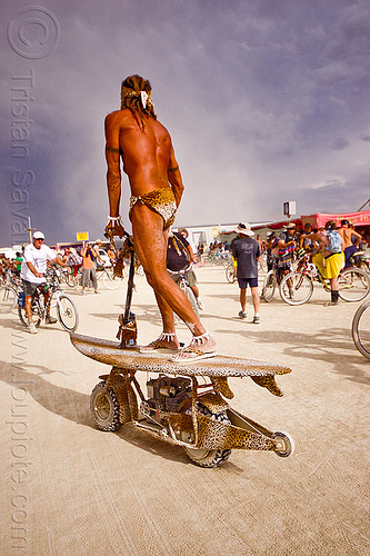 surfer - burning man 2012, man, motorbike, motorcycle, scooter, surf, surfer, surfing
