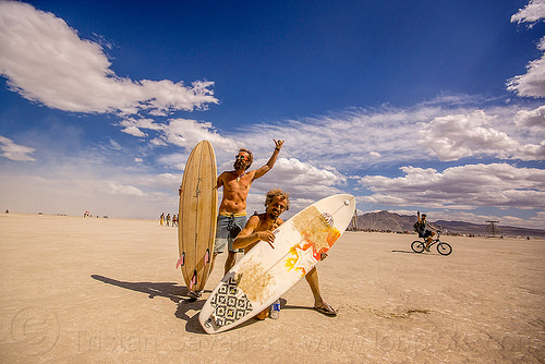 surfers - burning man 2015, german, henry langer, men, oliver markert, surfboards, surfers
