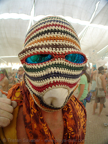 surviving the dust storm in center camp - burning man 2007, burning man, center camp, dust storm, sunglasses