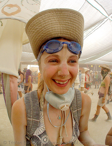 surviving the dust storm in center camp - burning man 2007, burning man, center camp, dust storm, woman