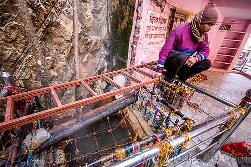 surya kund - yamunotri sacred hot springs (india), hot springs, men, surya kund, water, yamunotri