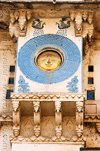 suryavanshi sun symbol on udaipur palace (india), blue, circle, decoration, disk, golden, mosaic, palace, round, sculpture, solar, sun, symbol, symbolism, udaipur