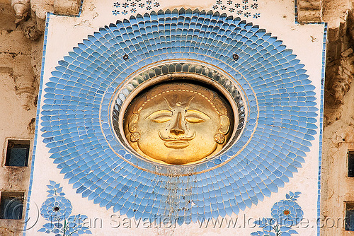 suryavanshi sun symbol - udaipur palace (india), blue, circle, decoration, disk, golden, mosaic, round, sculpture, solar, symbolism