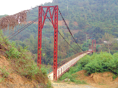 suspension bridge - vietnam, bridge pillar, bridge tower, infrastructure, nà phòng, red, suspension bridge