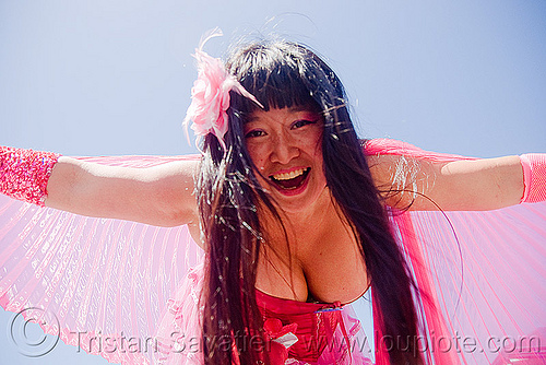 suzi chang - superhero street fair (san francisco), asian woman, cleavage, islais creek promenade, pink, superhero street fair, suzi chang