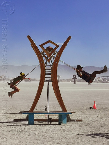 swing - burning man 2019, art installation, burning man logo, swing