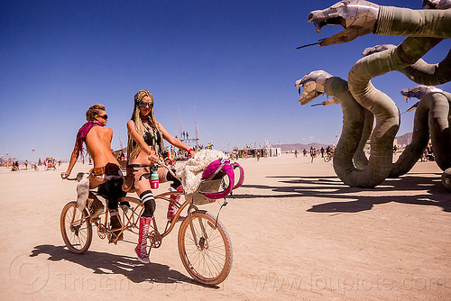 symmetrical tandem bicycle - burning man 2015, riding, symmetrical, tandem bicycle, tandem bike, two, women
