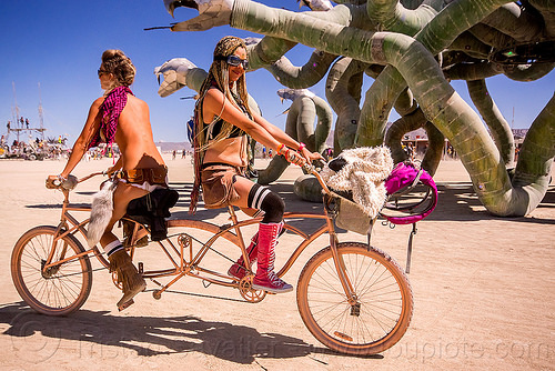 symmetrical tandem bike - burning man 2015, riding, symmetrical, tandem bicycle, tandem bike, two, women