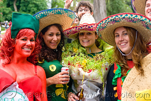 tabasco, chili, burrito and taco, bay to breakers, burrito, constumes, festival, food, footrace, mexican, sombreros, street party, tabasco, taco, women