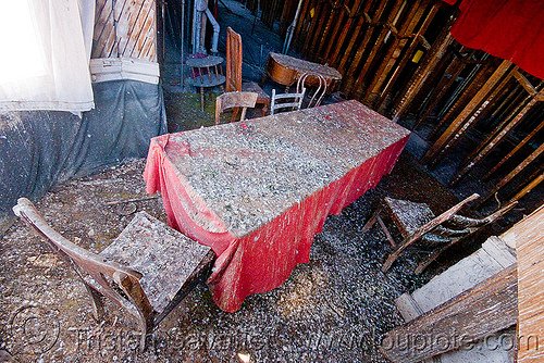 table and chairs in abandoned building, abandoned, chairs, defenestration building, pigeon droppings, red, table, urban exploration