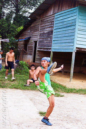 takraw player (borneo), ball game, borneo, gunung mulu national park, kick volleyball, malaysia, man, panan, penan people, player, playing, sepak raga, sepak takraw, sport