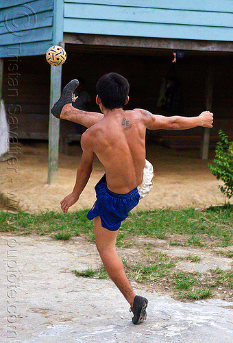 takraw player, ball, ball game, gunung mulu, gunung mulu national park, kick volleyball, man, panan, penan people, playing, rattan ball, sepak raga, sepak takraw, sport